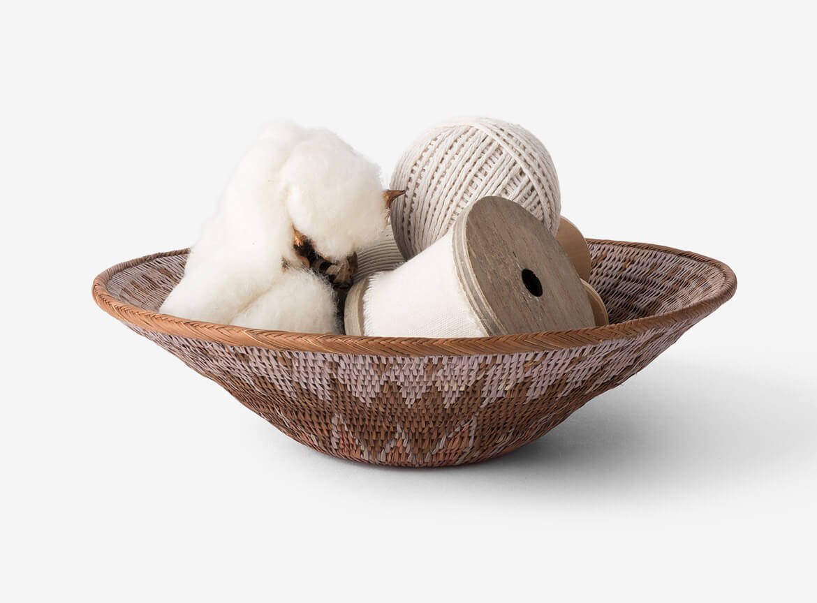 White thread in bamboo basket